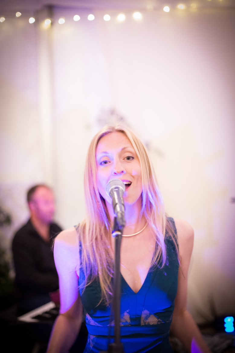 Janice M performing in The Grace Notes, Wedding Party, Lusty Glaze, Cornwall 2015